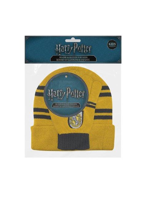 Hufflepuff Mütze und Handschuh Set für Kinder - Harry Potter