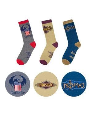 MACUSA пакет от 3 чифта чорапи с един размер за всички - Фантастични зверове и Къде да ги намерите
