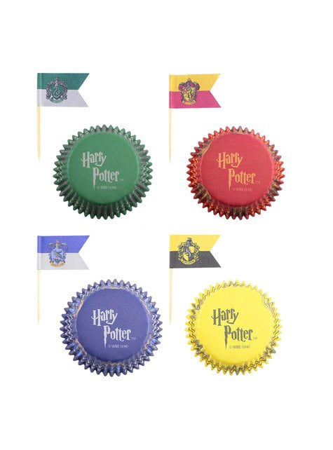 Juego pastelería envoltorios cupcake y banderitas de Harry Potter - Hogwarts Houses - para tus fiestas
