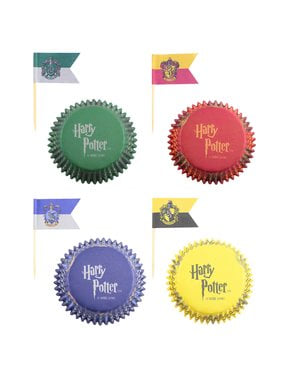 Harry Potter set of cupcake cases and flags - Hogwarts Houses