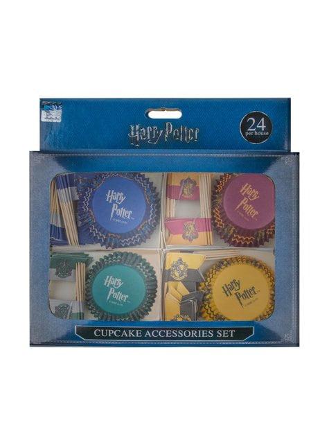 Juego pastelería envoltorios cupcake y banderitas de Harry Potter - Hogwarts Houses - barato