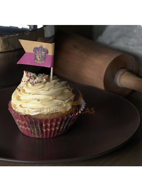 Juego pastelería envoltorios cupcake y banderitas de Harry Potter - Hogwarts Houses - comprar