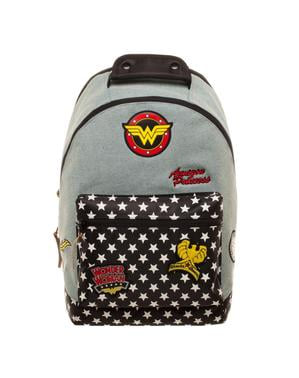 Ghiozdan Wonder Woman denim cu petice textile