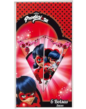 6 bolsas de cono Ladybug - Miraculous