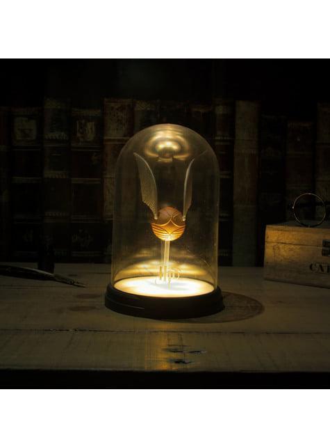 Kultainen sieppi valaistussa näyttelyastiassa - Harry Potter