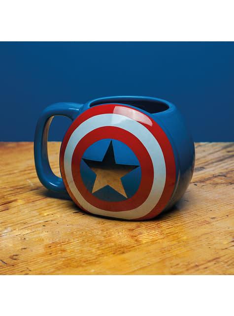 Taza 3D escudo de Capitán América