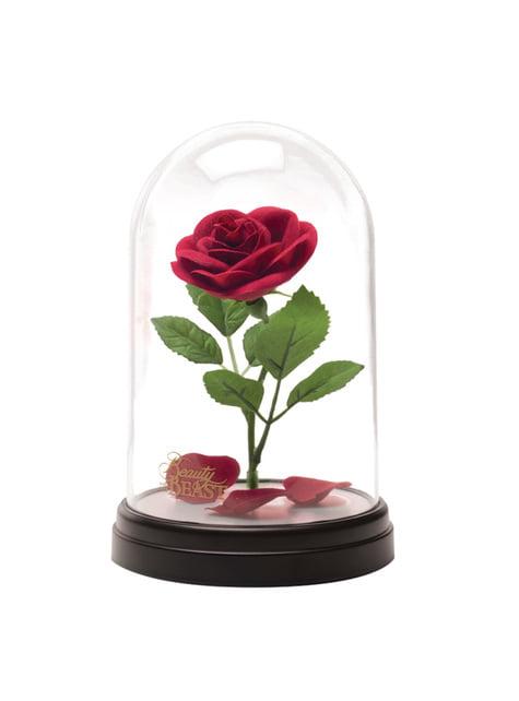 Rosa encantada de Bela e o Monstro em vitrina iluminada