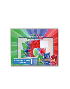 Set de 6 invitaciones PJ Masks