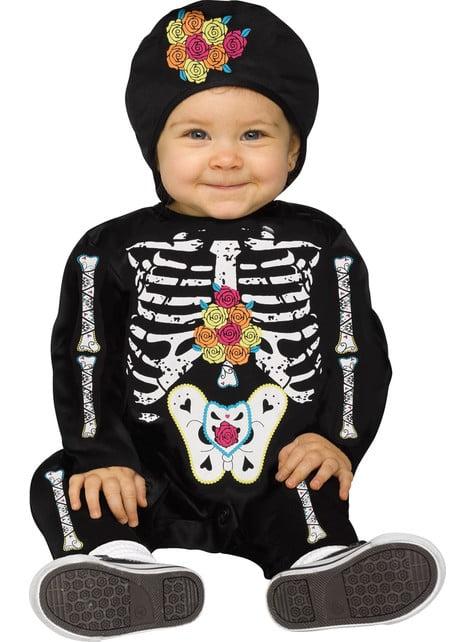 Disfraz de esqueleto del día de los muertos para bebé