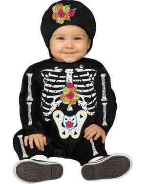 Costum de schelet ziua morților pentru bebeluși