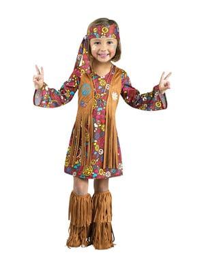Disfraz de hippie marrón para niña