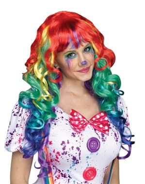 Curly Rainbow wig for adults