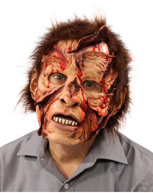 Zombie met gesneden hoofd masker voor volwassenen