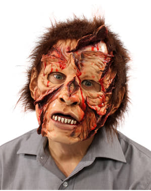 Zombie with cut face mask for adults