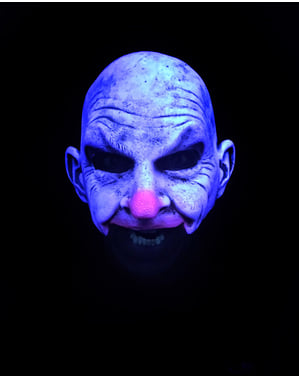 Glatzköpfige Clown UV Glow Maske für Erwachsene