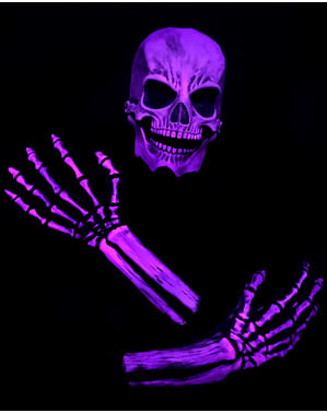 Skelett Kit rosa UV Glow für Erwachsene