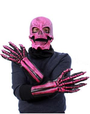 Set med skelett rosa och UV glow för vuxen
