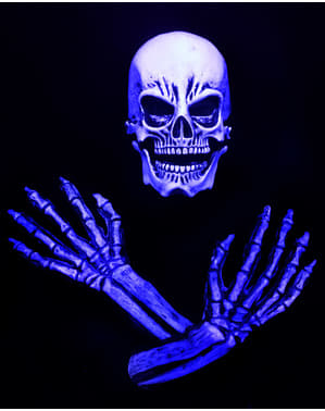 Blått skjelett sett til voksne UV glød
