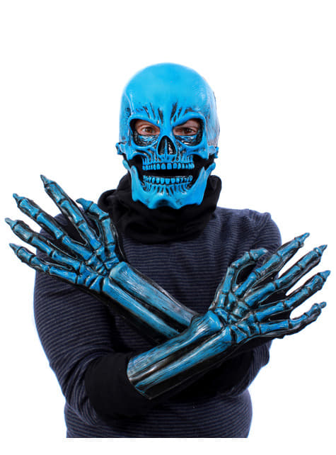 Kit de esqueleto azul UV glow para adulto
