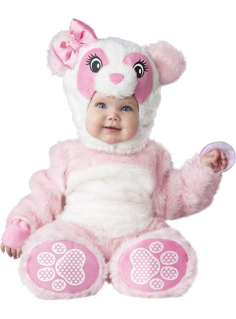 Strój misia pandy różowy niemowlęcy