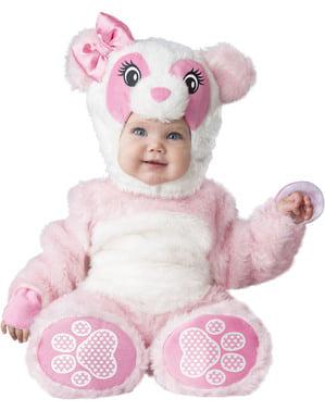 Costum de urs panda roz pentru bebeluși
