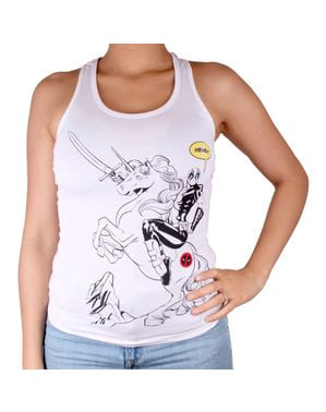 Camiseta Deadpool Ride Unicorn para mujer