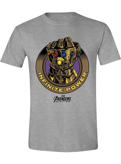 Thanos Infinity Gauntlet T-Shirt for Men in Grey - Avengers Infinity War