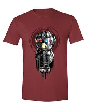 Thanos Infinity Gauntlet T-Shirt til mænd i Mørkerød - Avengers Infinity War