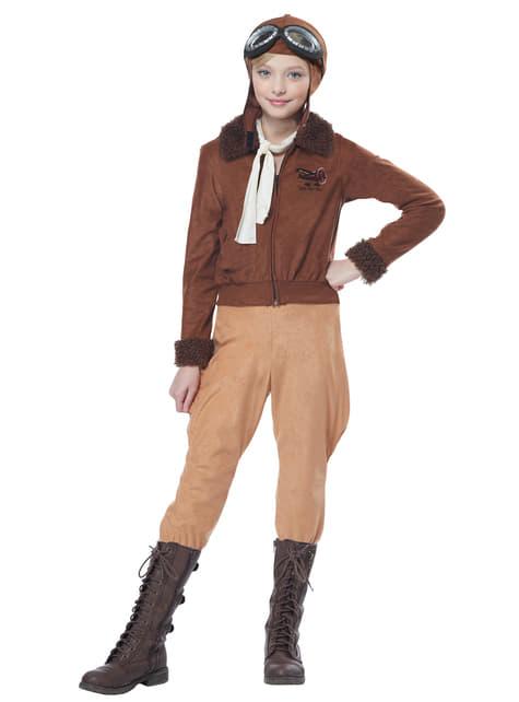 Disfraz de piloto clásica para niña