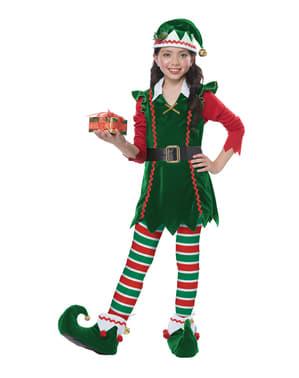 Disfraz de elfo navideño para niña