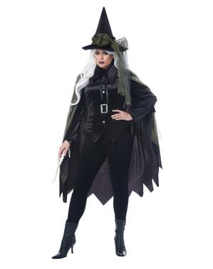 Fato de bruxa gótica para mulher tamanho grande