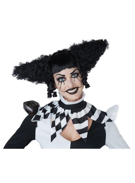 Peluca de payasa del terror negra - para tu disfraz