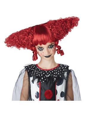 Peruka strasznego klauna czerwona