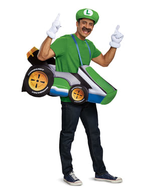 Maskeraddräkt kart Luigi för vuxen - Super Mario Bros