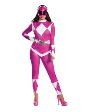 Vaaleanpunainen Power Ranger -Asu Aikuisille - Power Rangers Mighty Morphin