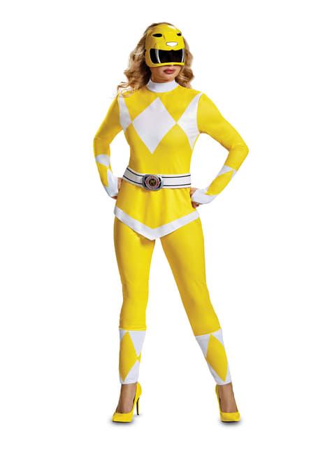 Fato de Power Ranger amarela para adulto - Power Rangers Mighty Morphin