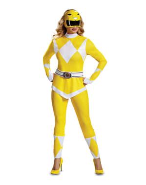 Суцільний костюм жовтого Могутнього рейнджера для жінок