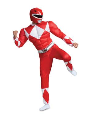 Červený kostým Power Rangers Mighty Morphin pre dospelých