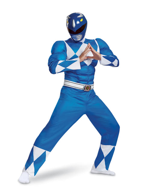 Fato de Power Ranger azul para adulto - Power Rangers Mighty Morphin