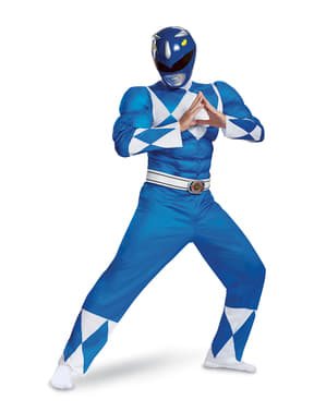 Maskeraddräkt Power Ranger blå för vuxen - Power Rangers Mighty Morphin