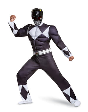 Костюм на черния Пауър рейнджър за възрастни – Power Rangers Mighty Morphin