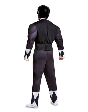 Fato de Power Ranger preto para adulto - Power Rangers Mighty Morphin