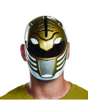 Power Rangers Mighty Morphin - hvid Power Ranger maske til voksne