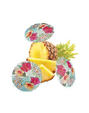 6 Papierschirmchen Set mit Hawaii Motiv