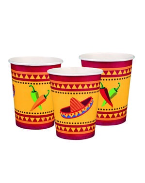 6 Becher Set mit mexikanischem Motiv