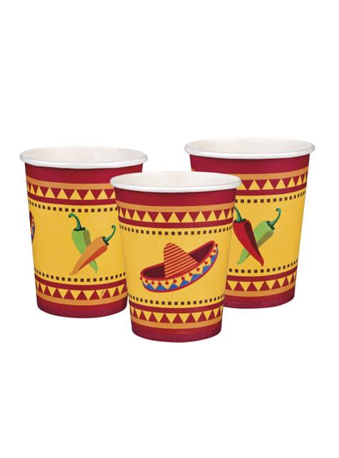 6 vasos para fiesta mejicana - barato