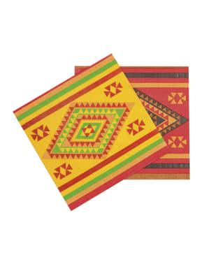Sæt af 12 servietter til mexicansk fest
