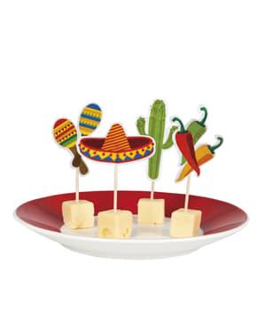 Sæt af 12 varierede tandstikker til mexicansk fest