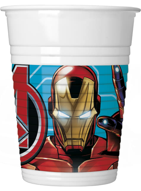 8 vasos de plástico de Los Vengadores - Mighty Avengers