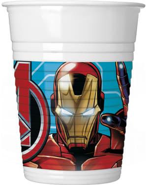 8 copos de plástico de Os Vingadores Imponentes - Mighty Avengers